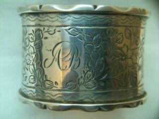 Antique Solid Silver Napkin Ring Birmingham 1890 Ref 1716/4 photo