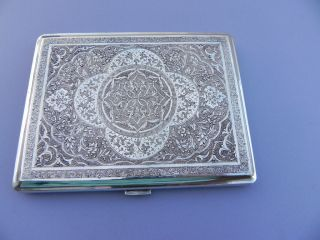Finest Large Heavy Antique Persian Islamic Solid Silver Cigarette Case 206 Grams photo