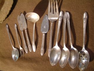 Silverplate Flatware First Love Misc Server Lot 11 Pcs: Ladles,  Butters,  Forks photo