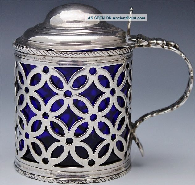 Very Rare 1768 Georgian London Pierced Sterling Silver Mustard Pot Condiment Jar Mustard Pots photo
