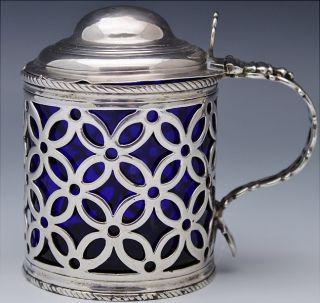Very Rare 1768 Georgian London Pierced Sterling Silver Mustard Pot Condiment Jar photo