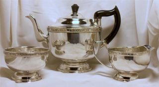 Good Silver Plate Tea Set Silver Rose Pattern Viners Alpha Plate photo