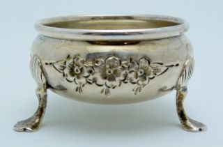 Dunkirk Sterling Silver Floral Open Salt Cellar photo