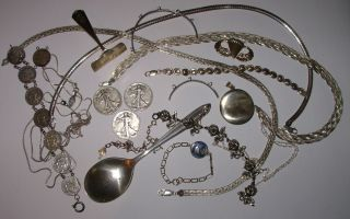 286 Grams - Lot Sterling Jewelry Coins Flatware And Scrap - 286 Grams photo