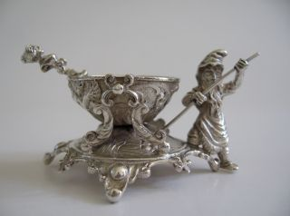 Hammond Creake Silver Plate Figural Open Salt & Spoon With Gnome & Cauldron photo