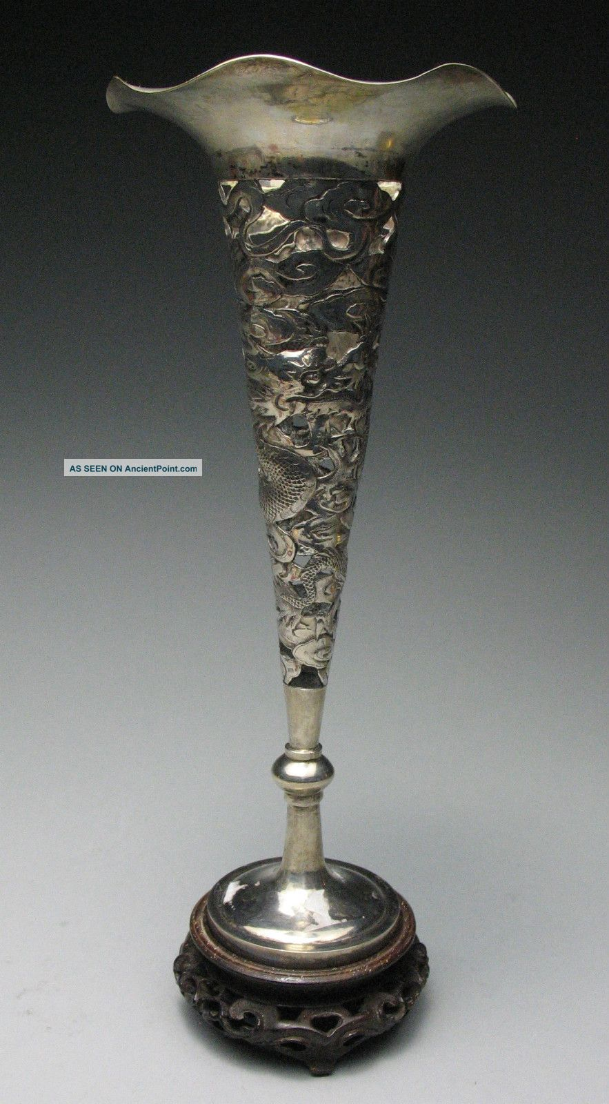 Stunning Chinese Sterling Silver Reticulated Dragons Chilong Marked Vase Asia photo