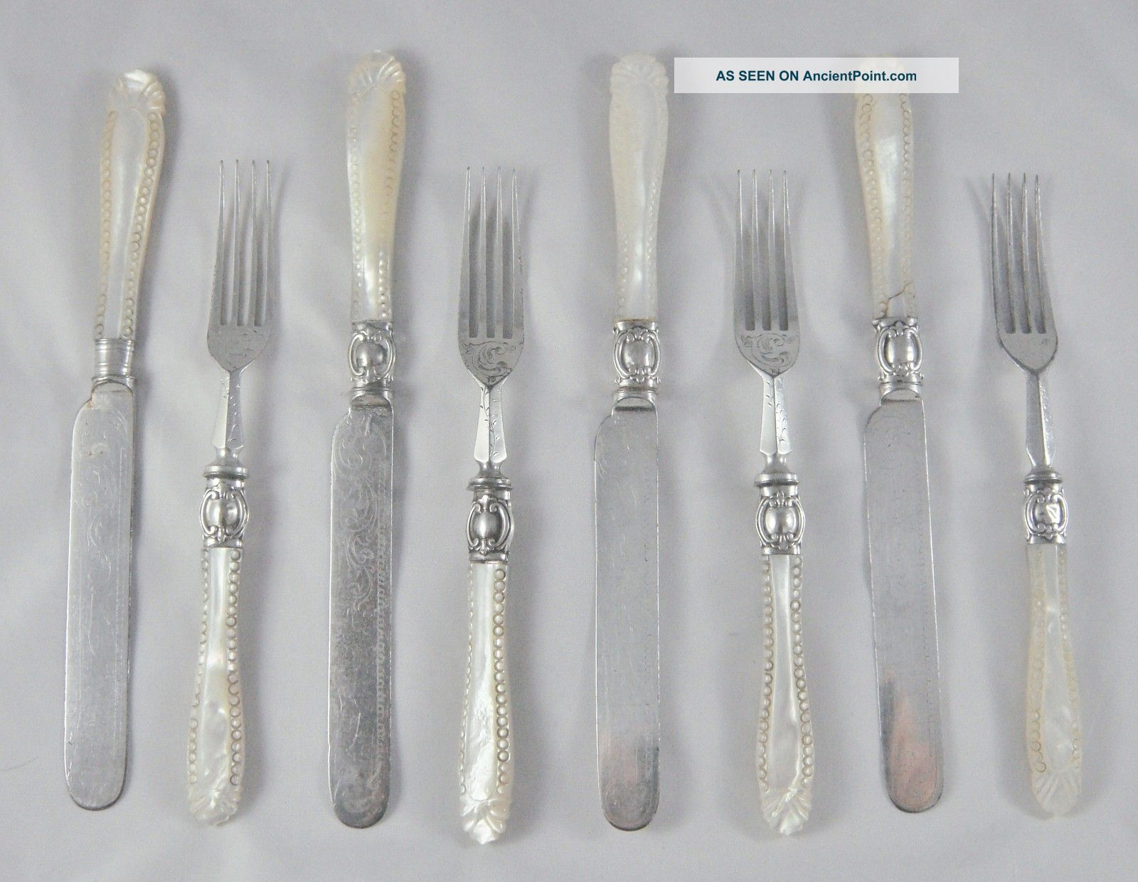 8 Rare Antique Carved Mother Of Pearl Silver Close Plated Dessert Knives & Forks Other photo