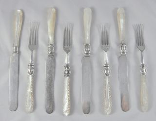 8 Rare Antique Carved Mother Of Pearl Silver Close Plated Dessert Knives & Forks photo