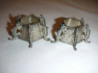 Pair Of Oriental Silver Salt Pots With Lizards As Legs To Sides photo