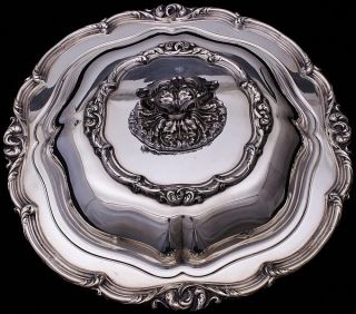 Gorgeous & Very Fancy Antique Silver Plate Round Lidded Entree Serving Dish Bowl photo