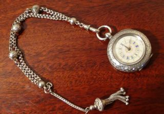 Antique Key Wind,  Hallmarked 935silver Pocket Watch & Chain.  99p Start photo