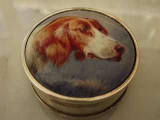 Enamel & Solid Sterling Silver Hallmarked Hunting Hound Dog Snuff / Pill Box photo