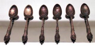 6 Rogers & Hamilton Raphael Pattern Silverplate Pat.  1896 5 - 7/8 Teaspoons Spoons photo