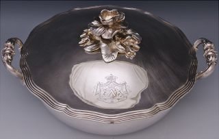 Top Quality Victorian Christofle French Silver Plate Armorial Entree Dish Bowl photo
