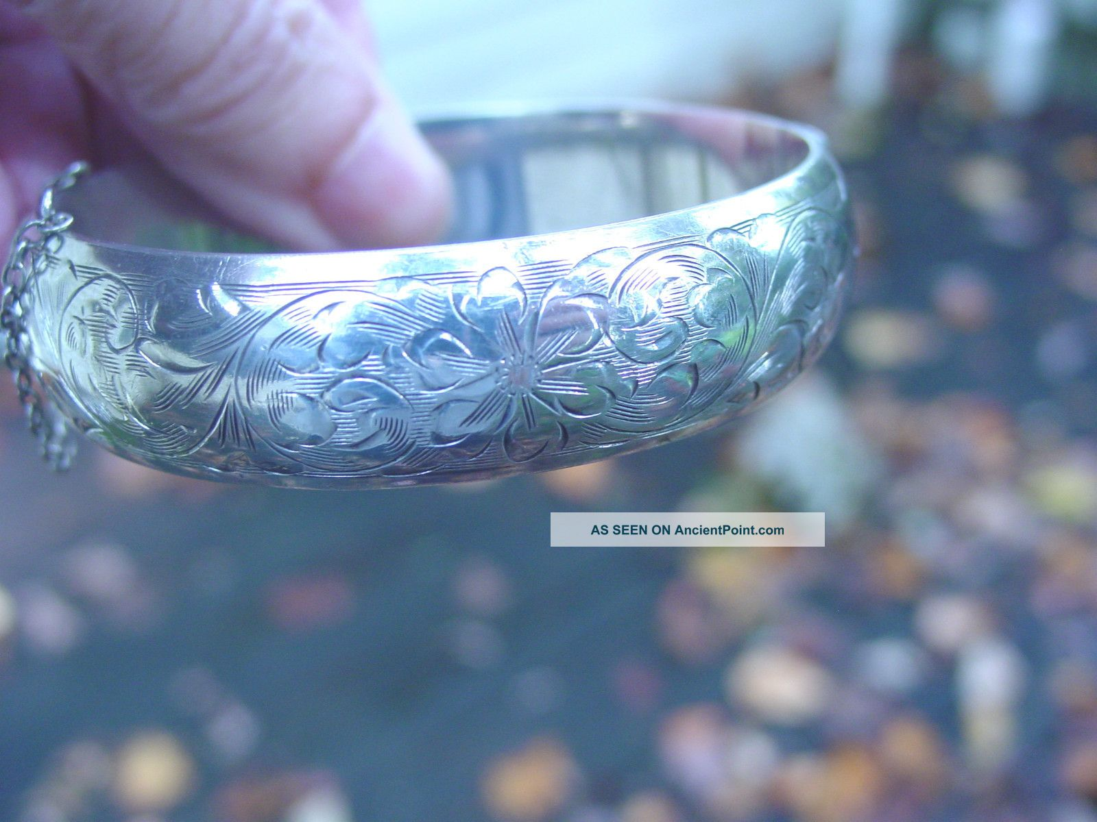 Vintage Signed Birks Etched Sterling Silver Bangle Bracelet United Kingdom photo