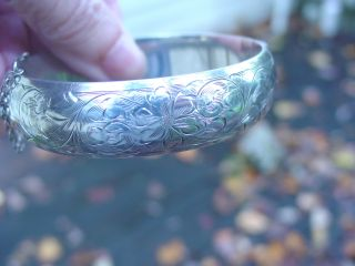Vintage Signed Birks Etched Sterling Silver Bangle Bracelet photo