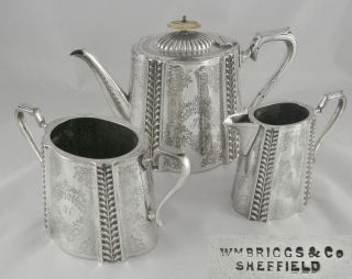 Stunning Antique W.  Briggs Quality English Silver Epns 3pc Tea Pot Jug Bowl Set photo