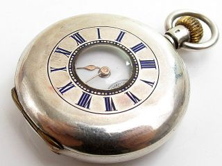 Antique Jw Bensen Solid Sterling Silver Enamel Half Hunter Case Pocket Watch photo
