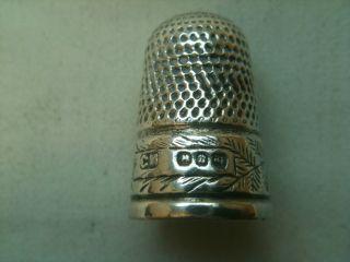 Antique Solid Silver Thimble Birmingham 1894 Ref297/a photo