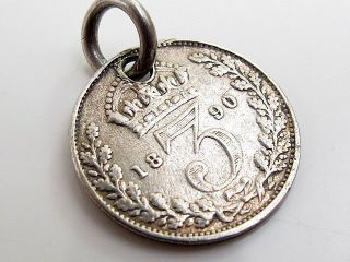 Antique Victorian Sterling Silver Charm Pendant Three Pence Coin 1890 photo