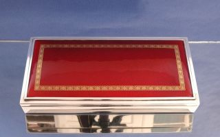 Solid Silver And Enamel Box For Cigarettes Or Playing Card. photo