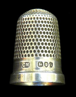 Hallmarked Sterling Silver Thimble By Charles Mappin : 1882,  London - Vgc photo