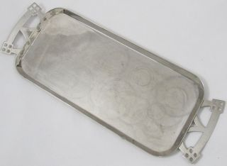 Vintage Wmf Ostrich Mark Silver Plated Arts & Crafts Rectangular Tray W/ Handles photo