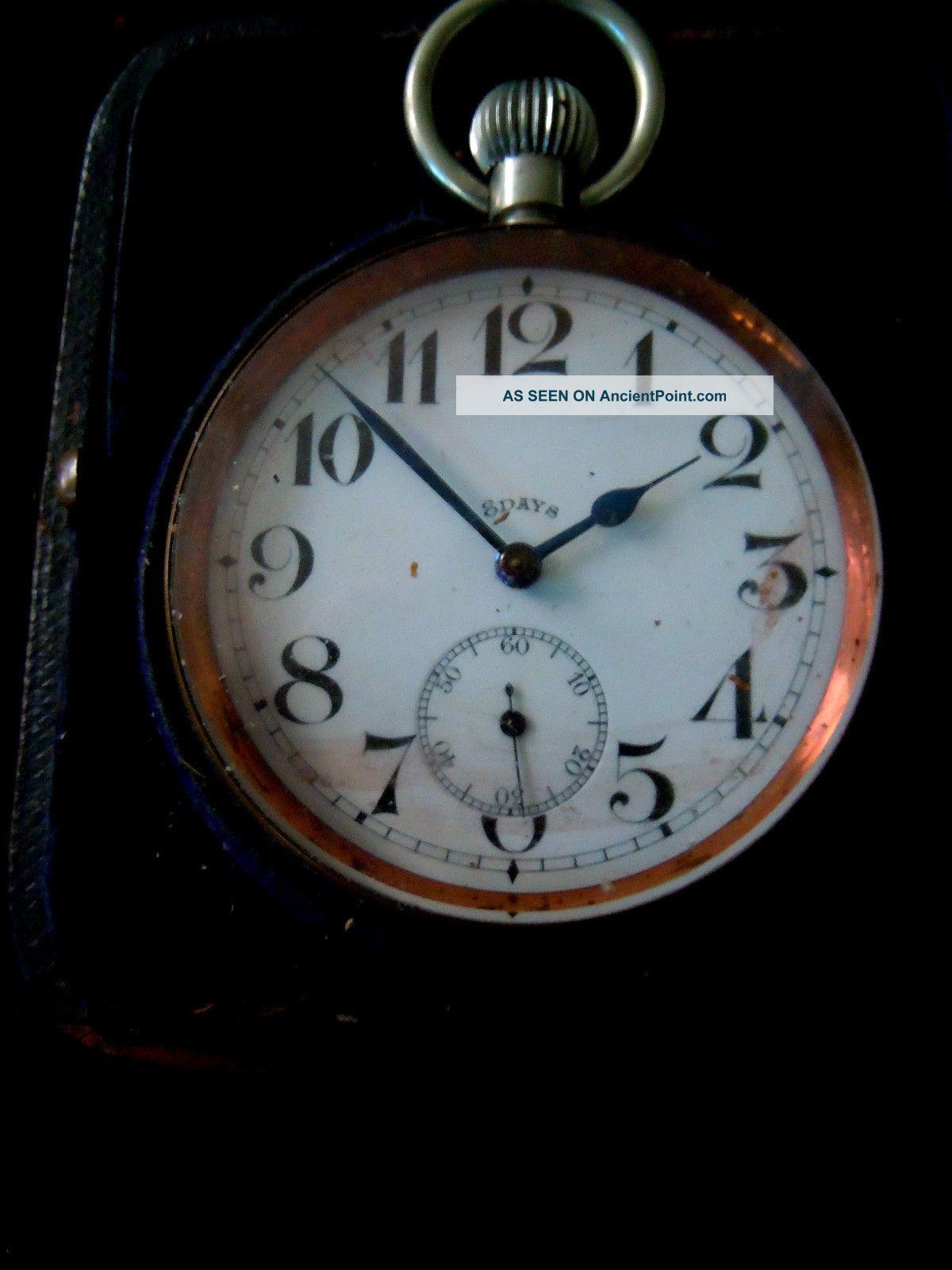 Antique Edwardian Case & Goliath Nickel Silver Pocket Watch Good Working Order Pocket Watches/ Chains/ Fobs photo