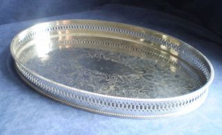 Good Large 40cm Silver Plated Georgian Style Gallery Tray photo