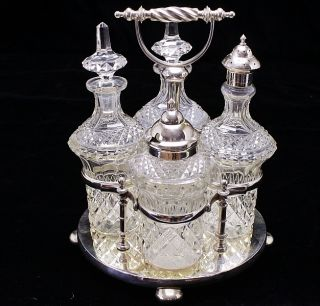 My Finest Victorian Sheffield Silver Plate & Cut Glass Cruet Condiment Service photo