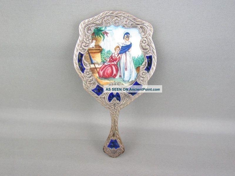 Fine Antique Italian Enamel 800 Silver Hand Mirror Make Offer Collection Silver Alloys (.800-.899) photo