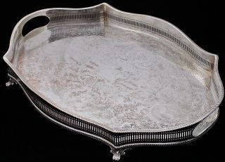 Very Fine Quality Large Silver Plate Raised Gallery Serving Tray Platter. . .  N/rs photo