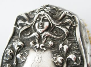 Unger Brothers Goddess W/flowing Hair Sterling Silver Nouveau Brush Victorian photo