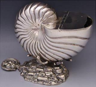 Fine Victorian Figural Nautilus Seashell Form Spoon Warmer Warming Dish Bowl photo