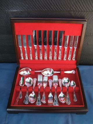 Silver Plate - 44 Piece Vintage Cutlery Canteen - Kings Pattern - Condition photo