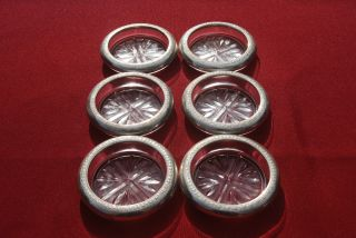 Set Of 6 Sterling Rimmed Glass Coasters Or Ashtrays - F.  B.  Rogers photo