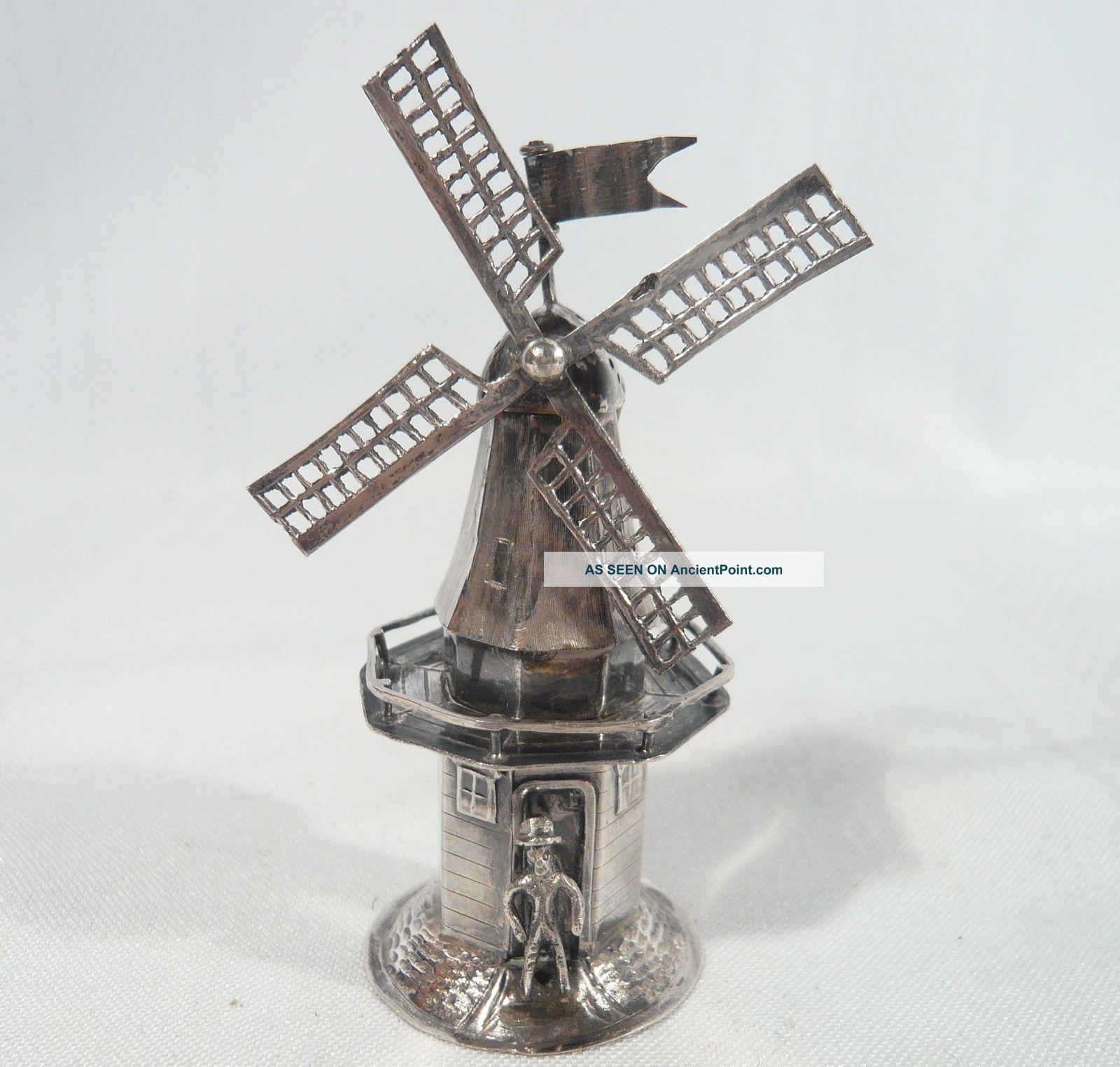 Antique 835 Silver Dutch Judaica 1910 Spice Tower Windmill Salt Jan Van Dijk Scandinavia photo