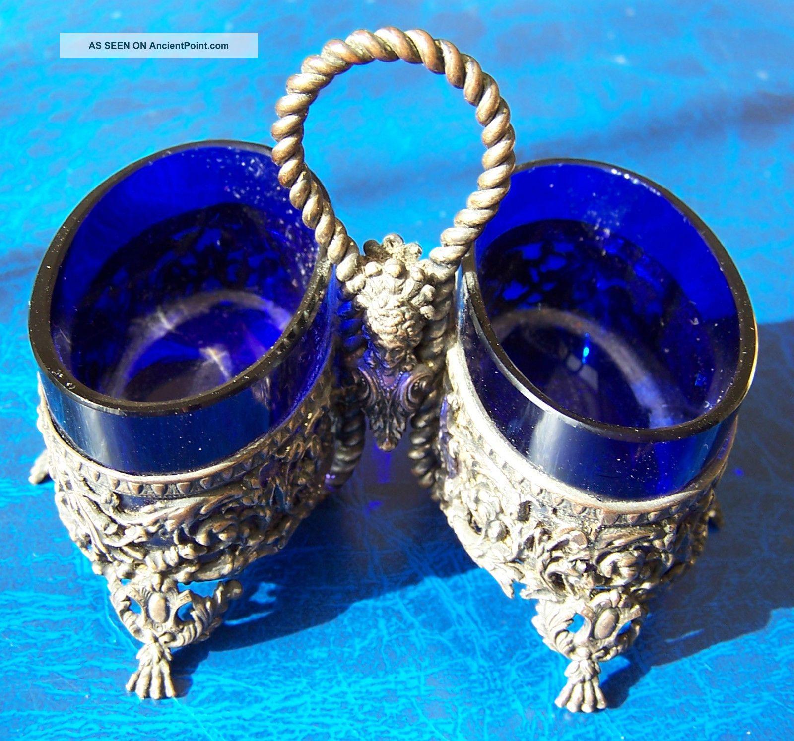 Vintage French Mon Girardin Silver Plated Salt Cellars Cobalt Blue Liners In Vgc Salt & Pepper Cellars/ Shakers photo