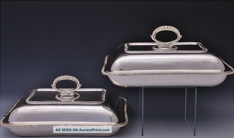 Finest Pair 1924 English Solid Sterling Silver Lidded Entree Supper Dishes Bowls Bowls photo
