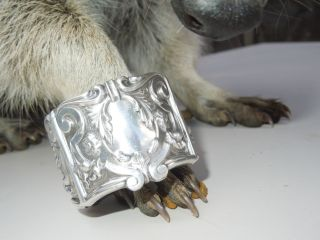 Sterling Silver Repousse Art Nouveau Flower Bud Scroll Hollow Napkin Ring photo