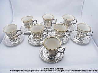 Frank Whiting Sterling Silver Lenox Porcelain China Espresso Coffee Serving Set photo