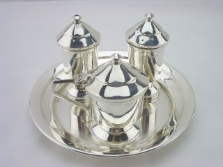 Stunning Art Deco Silver Cruet Set Birm 1946 6oz Bishton ' S Ltd photo