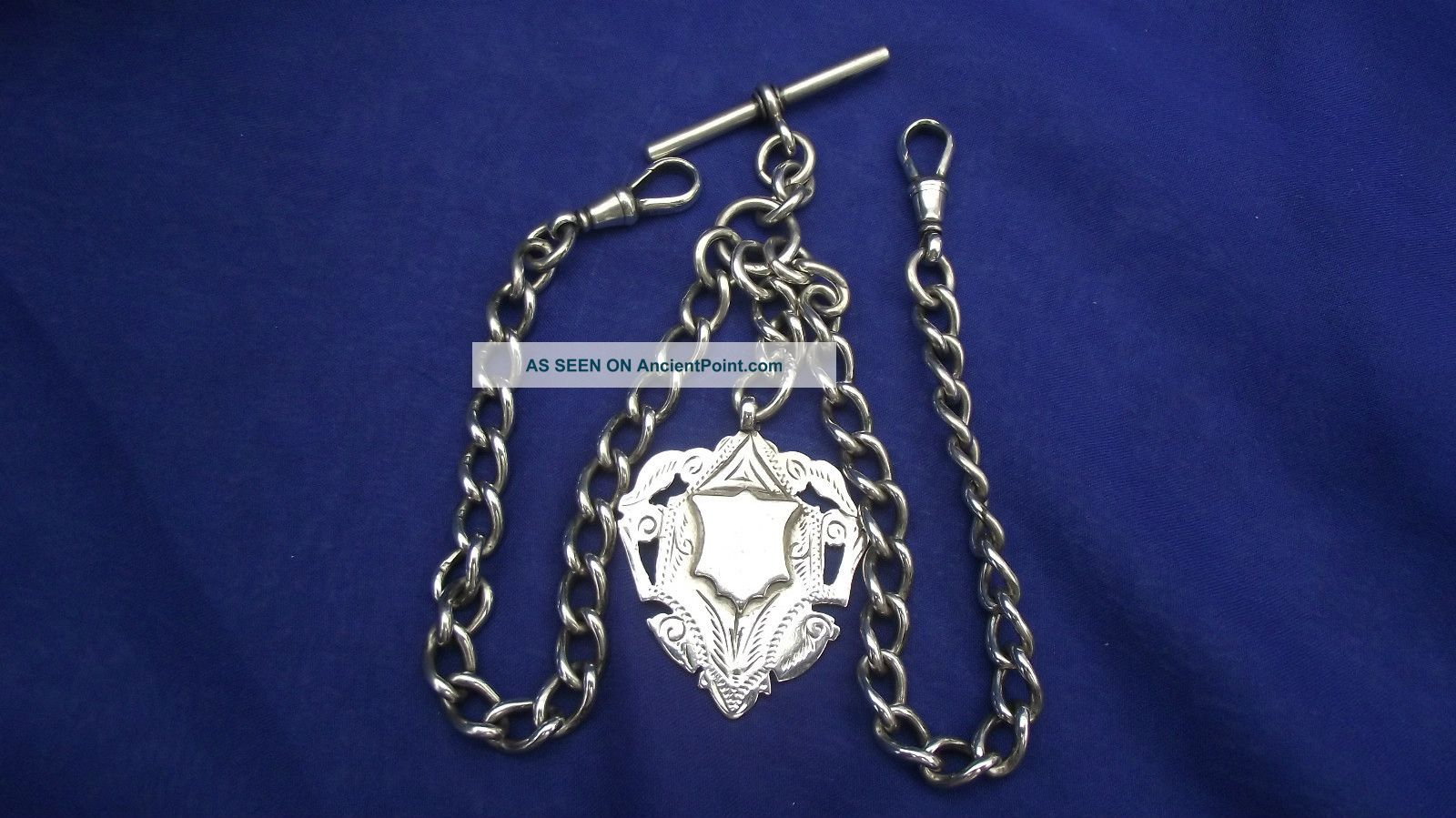 Sterling Silver Watch Chain & Fob,  Hallmarked 1907 Weight 51.  5gm Pocket Watches/ Chains/ Fobs photo