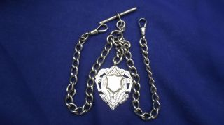 Sterling Silver Watch Chain & Fob,  Hallmarked 1907 Weight 51.  5gm photo