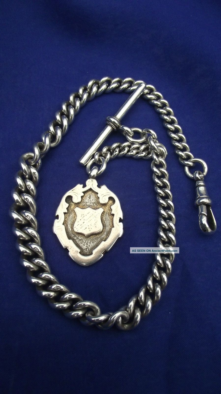 Sterling Silver Graduated Watch Chain 1918 & Fob 1907 Weight 56gm Pocket Watches/ Chains/ Fobs photo