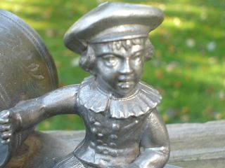 Figural Silverplate Or Pewter Napkin Ring Holder Boy On Bench Vintage photo