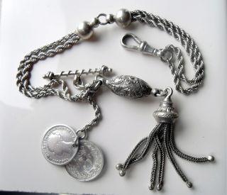 Antique Sterling Silver Albertina - Tassel & Coin Charm Bracelet photo