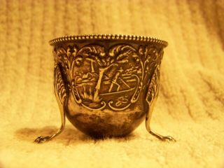 Large Sterling Silver Egg Cup Antique (duck Egg) photo