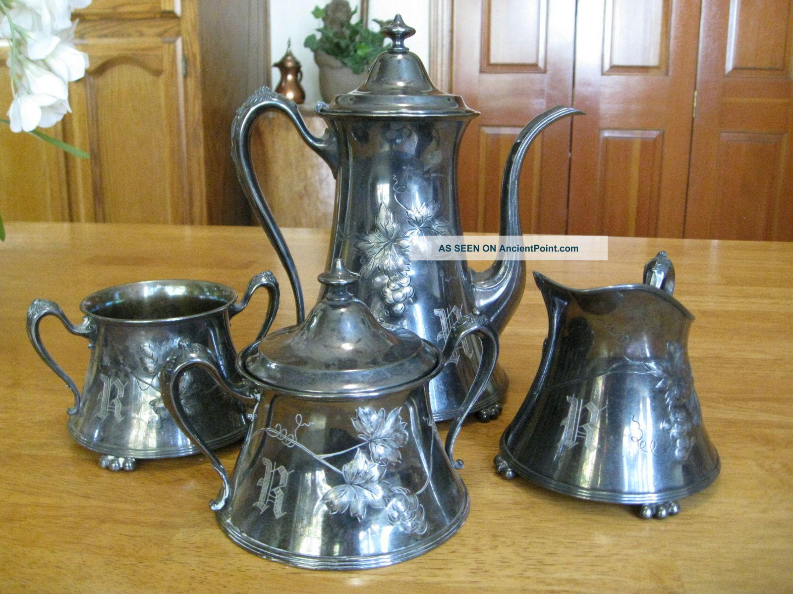 Pairpoint 4 Pc Quadruple Plate Silver Tea Set Monogram R Grapevine Dsgn 390 Tea/Coffee Pots & Sets photo