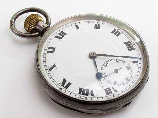 Working Antique Hallmarked Solid Sterling Silver Pocket Watch photo